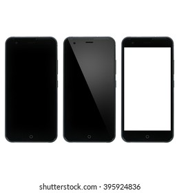 Smart phone blank. Smartphone with blank display. Three variations isolated on white background