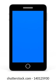 Smart phone with blue screen on white background. 3D illustration.