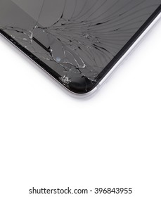Smart phone with broken display on white background