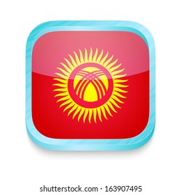 Smart phone button with Kyrgyzstan flag