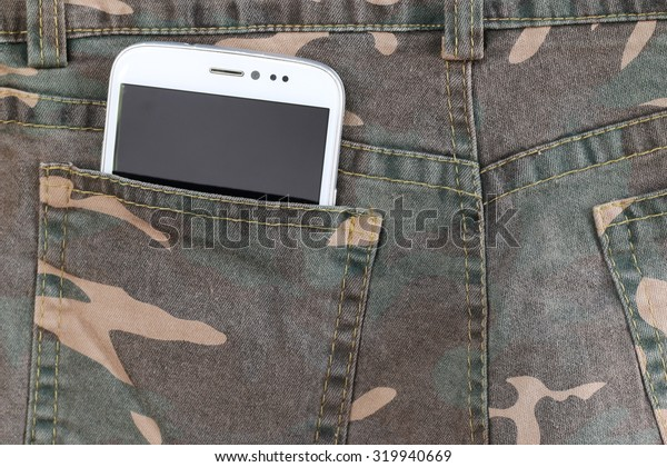 Smart Phone in camouflage pants pocket.