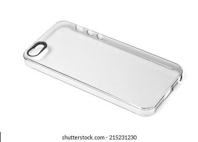 Smart phone case made by clear plastic isolated on white