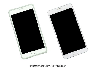 Smart phone with case protection and empty with black isolated screen on with background. Aerial view.