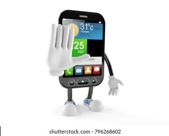 Smart phone character isolated on white background. 3d illustration