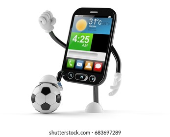 Smart phone character with soccer ball isolated on white background. 3d illustration