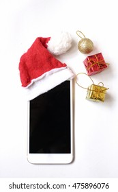 Smart phone with christmas hat isolated