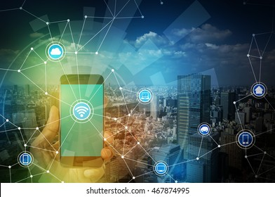 smart phone and smart city, wireless communication network, IoT(internet of things), CPS(Cyber-Physical Systems), ICT(Information Communication Technology), abstract image visual