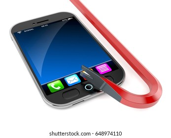 Smart phone with crowbar isolated on white background. 3d illustration