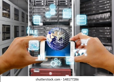 Smart phone and digital world : Elements of this image furnished by NASA