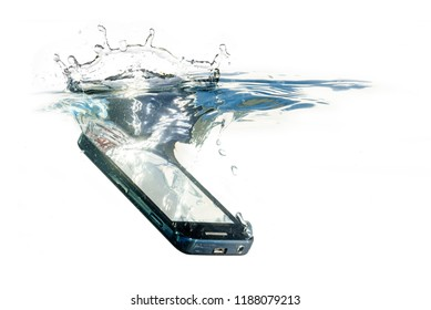 smart phone is falling into the water with splash, concept for waterproof product or insurance claim, isolated on a white background, copy space
