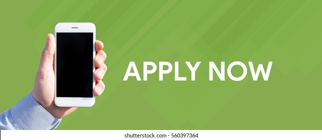 Smart phone in hand front of green background and written APPLY NOW