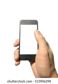 smart phone in hand isolated on white background ready for make text.