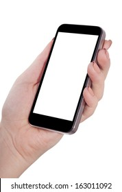 smart phone in hand isolated white background