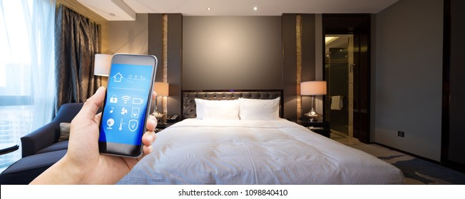 smart phone with smart home and modern