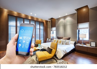 smart phone with smart home and modern bedroom