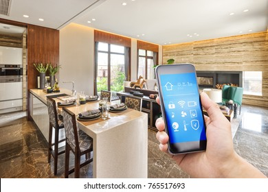 smart phone with smart home and modern dining room
