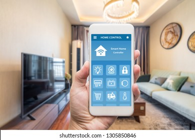 smart phone with smart house, home automation, device with app icons