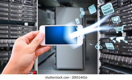 Smart phone and icon control the server
