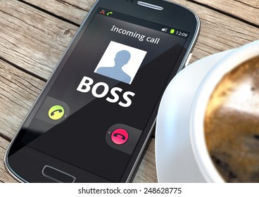 Smart phone with incoming boss call and coffee on a table