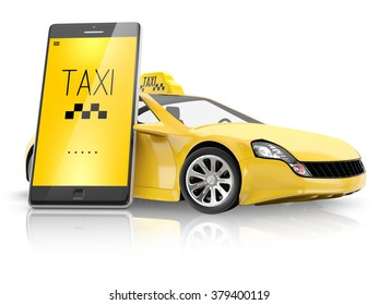 Smart phone with interface taxi and yellow car isolated on white background.