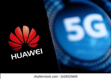Smart phone with the logo of Huawei and 5G. The 5g are new communication technologies that Huawei incorporates. United States, California, Friday, January 17, 2020,