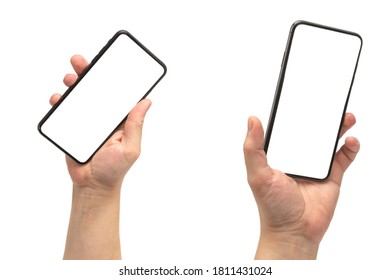 Smart phone in man hand isolated on white background.  White screen. Copy space. - Shutterstock ID 1811431024