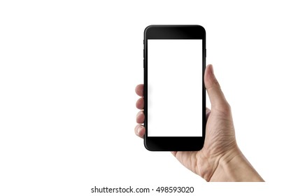 Smart phone in man hand. Isolated white screen for mockup. White background.