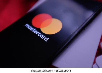 Smart phone with the Mastercard logo that is a brand of credit and debit cards. United States, New York, Thursday, October 4, 2019.