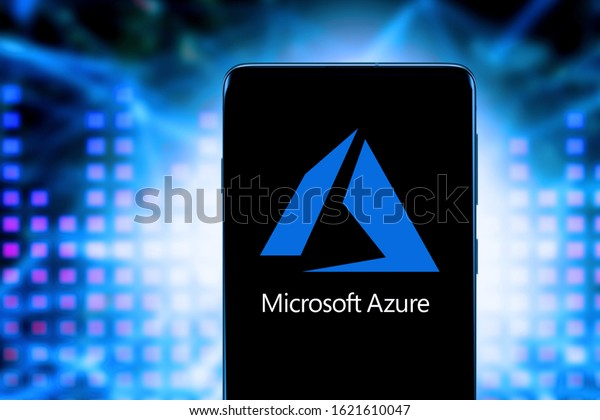 Smart phone with the Microsoft Azure logo, is a cloud service offered as a service and hosted in Microsoft Data Centers. United States, California January 21, 2020