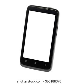 smart phone (mobile phone with touch screen) with blank screen isolated on white background. front view, It located obliquely, turn on the diagonal