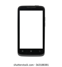 smart phone (mobile phone with touch screen) with blank screen isolated on white background. front view, located directly