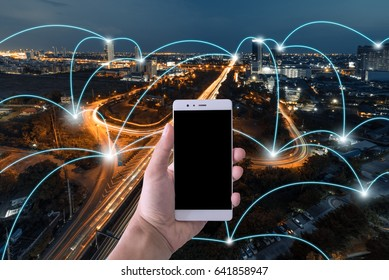 Smart phone Network and Connection technology concept with city background