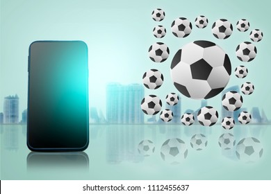 smart phone on city blurry background with football tournament 2018 