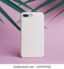 Smart phone on a pink background of palm leaves in a white plastic case back view. Template of phone case, mock up.