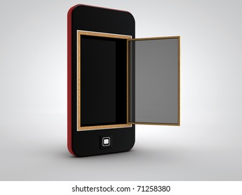 Smart phone with opened window
