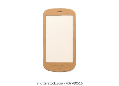 Smart phone paper model with empty screen - isolated on white
