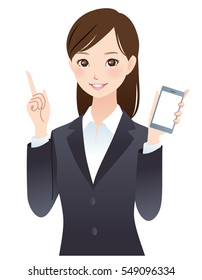 "smart phone and pretty business woman posing ""advice"""