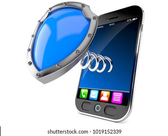 Smart phone with shield isolated on white background. 3d illustration