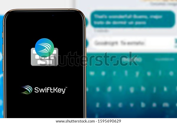 Smart phone with the SwiftKey logo that is one of the most popular mobile keyboards. United States, California, December 22, 2019