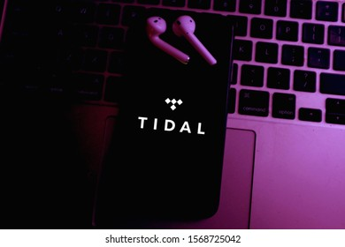 Smart phone with the Tidal logo is a subscription-based continuous broadcast music service. Saturday November 23, 2019, United States, California
