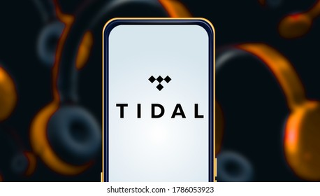 Smart phone with the Tidal logo is a subscription-based continuous broadcast music service. Saturday November 23, 2020, United States, California