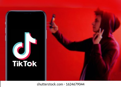 Smart phone with TIK TOK logo, which is a popular social network on the internet. United States, Wednesday, November 27, 2020
