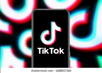 Smart phone with TIK TOK logo, which is a popular social network on the internet.  United States, New York, Wednesday April 8, 2020