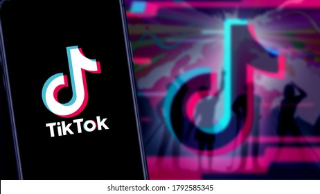Smart phone with TIK TOK logo, which is a popular social network on the internet. United States, Canada, Wednesday, November 27, 2020