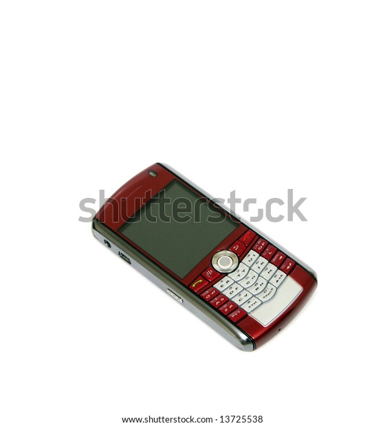 """A """"smart phone"""" type cell phone against a white background."""