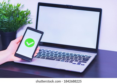 smart phone verification and laptop computer