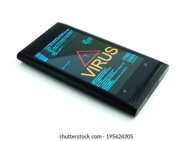 Smart phone with virus on white background