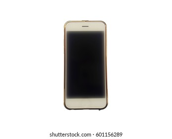 smart phone is wear gold case isolated on white background.