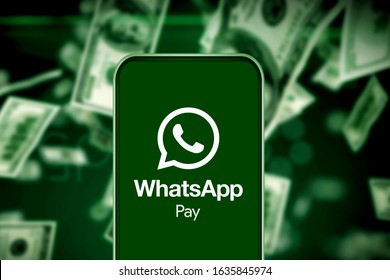 Smart phone with the WhatsApp Pay logo that will be officially launched in new global markets. This will happen in the next six months. United States, California February 1, 2020