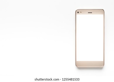 Smart phone with white screen on isolated background